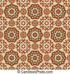 Seamless vector colorful pattern. East ornament with colorful details on the turquoise background. Tracery of mandalas for textile.