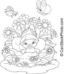 Duckling Coloring Page - Illustration duckling hatched from...