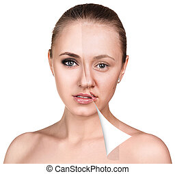 Woman face before and after retouch - Face of beautiful...