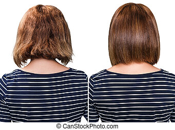 Comparative portrait of damaged hair before and after...