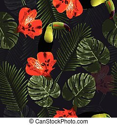 Tropical seamless pattern with toucan parrot, flowers and palm leaves