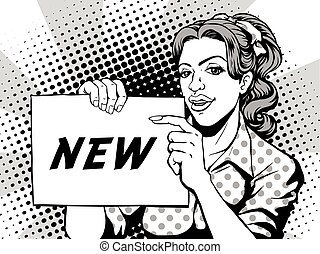 comic pointing new - retro woman smiling and pointing to a...