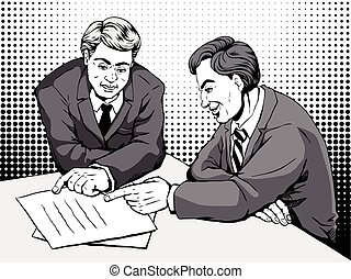 comic two men discussing - retro two men merrily discussing...