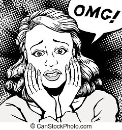 comic oh my god - retro woman shocked with eyes opened wide...