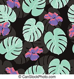 Tropical seamless pattern with palm monstera leaves and flowers