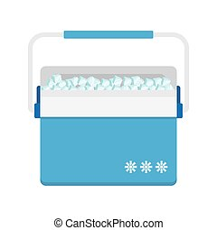 Bag refrigerator icon. Cooler symbol - freezer-bag in blue...