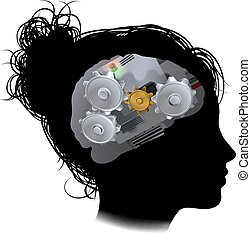 Brain Machine Workings Gears Cogs Woman