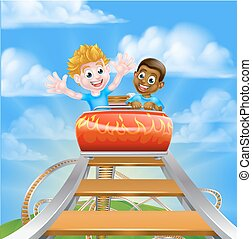 Theme Park Roller Coaster - Cartoon boys children riding on...