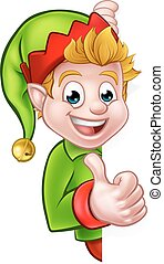 Thumbs Up Christmas Elf Cartoon Character