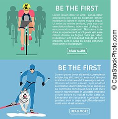 Two banners on the theme of sport: Cycling and racing with...