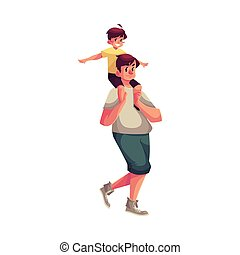 Little boy sitting on father shoulders and pretending a plane