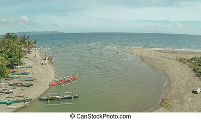 The river flows into the sea. The beautiful nature of the Philippines