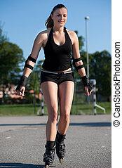 Girl rollerskates