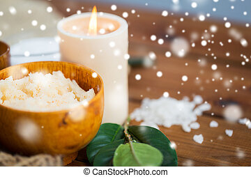 natural body scrub and candle on wood - beauty, spa,...