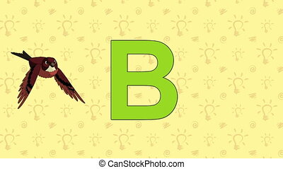 Brambling. English ZOO Alphabet - letter B - Animated...