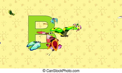 Butterfly. English ZOO Alphabet - letter B - Animated...