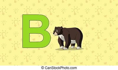 Bear. English ZOO Alphabet - letter B - Animated English ZOO...