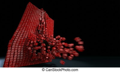 wrecking ball red dice night - 3d rendering of a dice wall...
