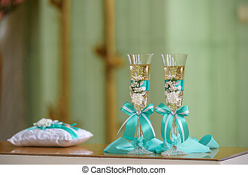 wedding stemware with champagne
