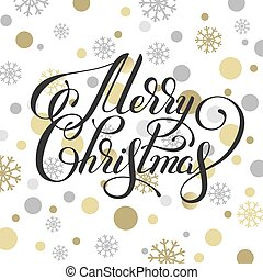 merry christmas hand written calligraphy with golden...