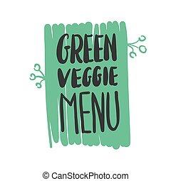 green veggie menu hand written inscription on green, vector...