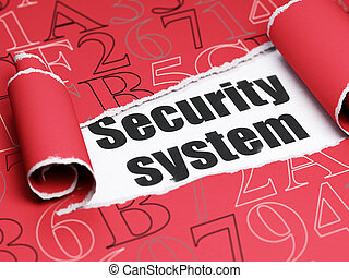 Security concept: black text Security System under the piece...