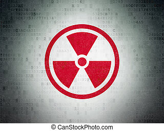 Science concept: Radiation on Digital Data Paper background...