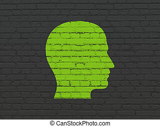 Learning concept: Head on wall background - Learning...