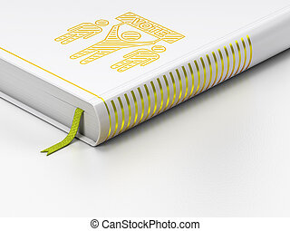 Political concept: closed book, Election Campaign on white background