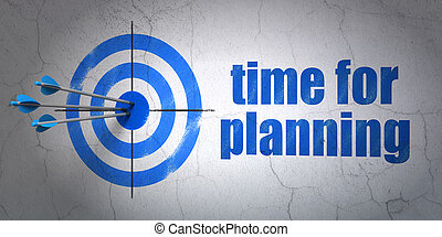 Timeline concept: target and Time for Planning on wall...