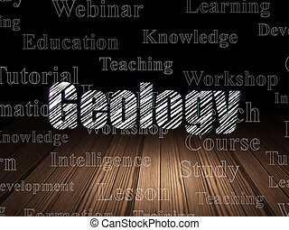 Education concept: Geology in grunge dark room