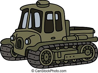 Vintage artillery tractor - Hand drawing of a funny vintage...