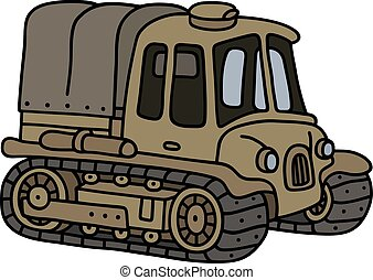 Old sand artillery tractor - Hand drawing of a funny classic...