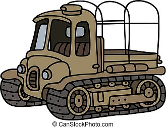 Funny old artillery tractor - Hand drawing of a funny old...