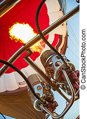 A Hot Air Balloon burners in operation