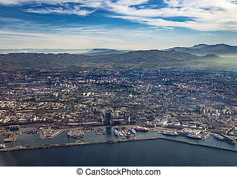 aerial view of Marseille in Midday light - aerial view of...