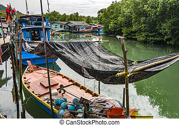 small fishermens village in the mangrove swamps at the...