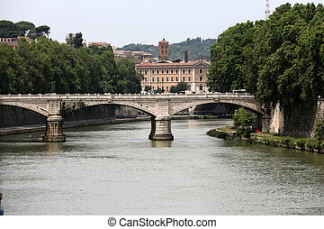 Old bridge and Tiber river in Rome . Italy