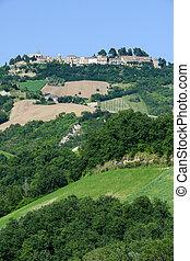 Rural landscape of Ripatransone on Marche, Italy