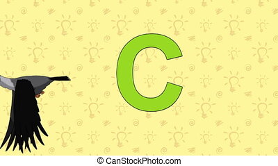 Crow. English ZOO Alphabet - letter C - Animated English...