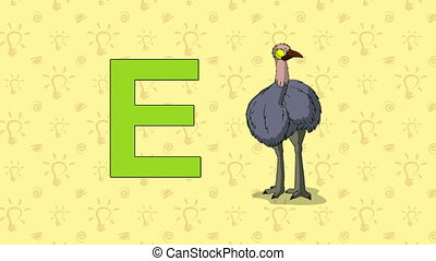 Emu. English ZOO Alphabet - letter E - Animated English ZOO...