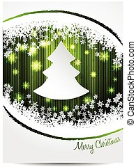 Green white christmas greeting card design with white...