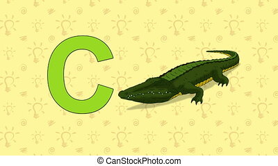 Crocodile. English ZOO Alphabet - letter C - Animated...