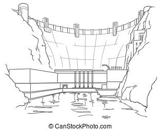 Outline hydroelectric dam - Outline illustration of a...