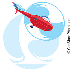 flat helicopter fly - illustration of flat red helicopter...