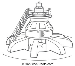 Outline hydroelectric generator - Outline illustration of a...