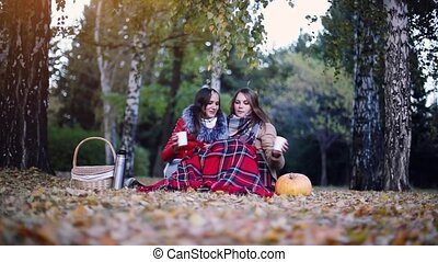 Young beautiful women sitting on picnic bundled up in a...