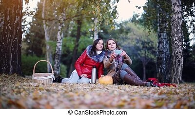 Beautiful women making selfie on a picnic in autumn park...