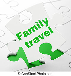 Vacation concept: Family Travel on puzzle background -...