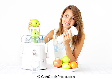 Happy girl about juicer